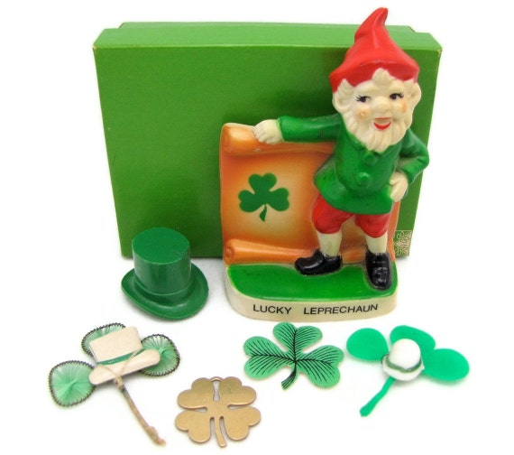 Lot O' Green - Vintage St. Patrick's Day Decorations, 1920s-1970s Mixed Pieces, Leprechaun Figure, Shamrock & Hat Charms, Paper Scraps, More