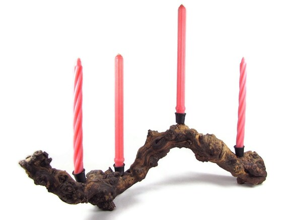 Wood Wave - Vintage Burl Driftwood Candelabra, Mid Century Modern Organic Candle Holder with Undulating Wave Shape, Dramatic Tablescape