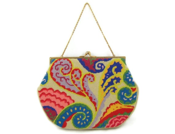 Bright & Swirly - Vintage Needlepoint Purse with Unusual Colorful Abstract Waves Design, Like a Psychedelic Seashore
