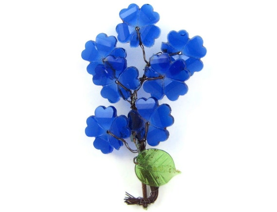 Blue Blooms - Vintage Glass Flower Brooch or Millinery Pin, Cobalt Blue Bouquet of Delphiniums, Very Old and Unusual