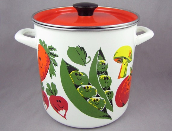 Happy Food - Vintage Enamel Veggie Steamer Pot with Anthropomorphic Vegetables & Seafood, Orange Lid, Includes Steam Basket, Like New