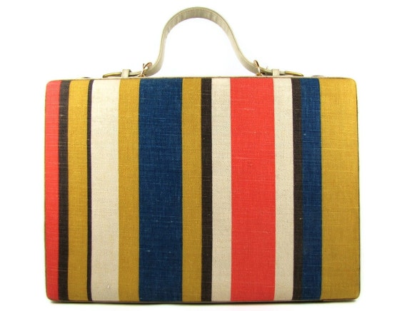 Business Chic - Vintage 1970s Mod Striped Fabric Covered Briefcase with Matching Fabric Lined Interior, Original Keys & Working Lock