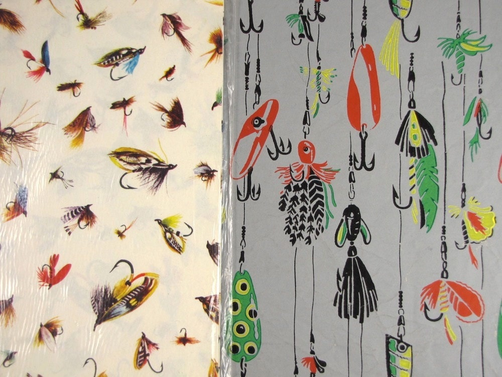 Fly tying vintage fly fishing gift wrap 2 designs for your for Fish wrapping paper