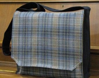 Grey and Tan Plaid Messenger Bag