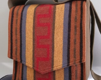 Brown Blanket Stripe Messenger Bag