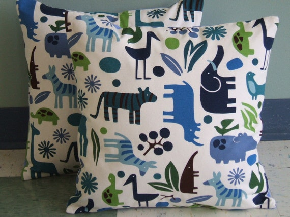 Zoo Animal Pillows : Zoo Animals Pillow Cover 16x16 Blue