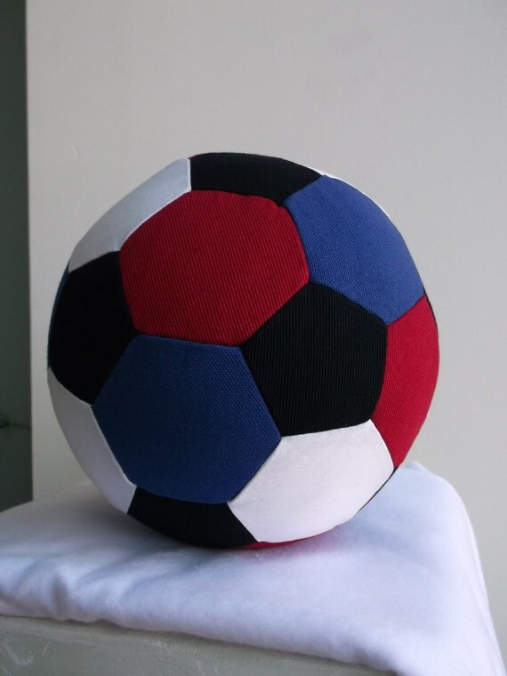 Fabric Soccer Ball- Red White Black and Blue