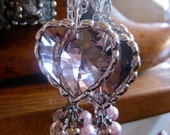 Pale Pink Glass Chandelier Heart Necklace
