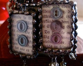 Glass Soldered Pendant with Vintage Buttons
