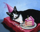 ACEO Art Card ... Its My Birthday...Signed print of cat art painting
