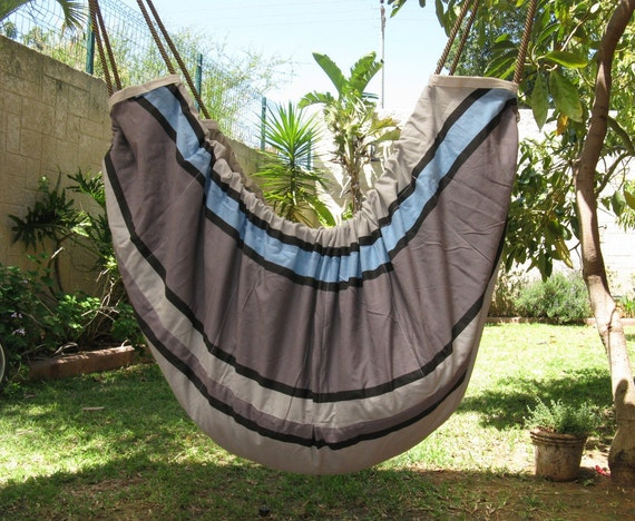 Baby hammock and cradle, doubles as a play-hammock and swing for older kids. - grey and blue tones