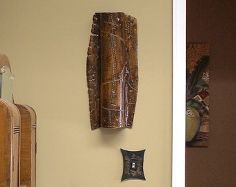 """Ceramic Wall Hanging in Iron Lustre With Industrial Texture 21"""" long"""