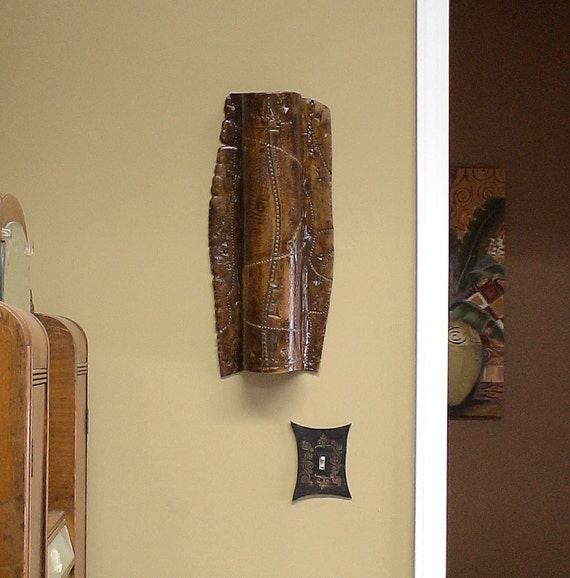 Long Iron Wall Decor : Items similar to ceramic wall hanging in iron lustre with