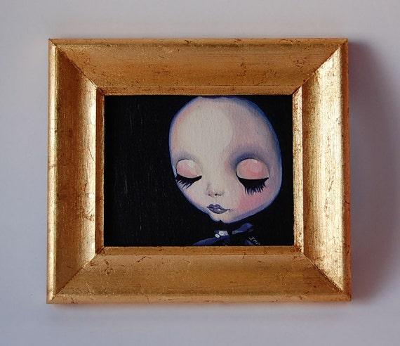 Ligeia Blythe doll oil canvas painting with handmade gilded frame