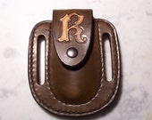 Custom Made Hand Tooled Leather Knife Sheath with Letter Of Your Choice 4-5 inches