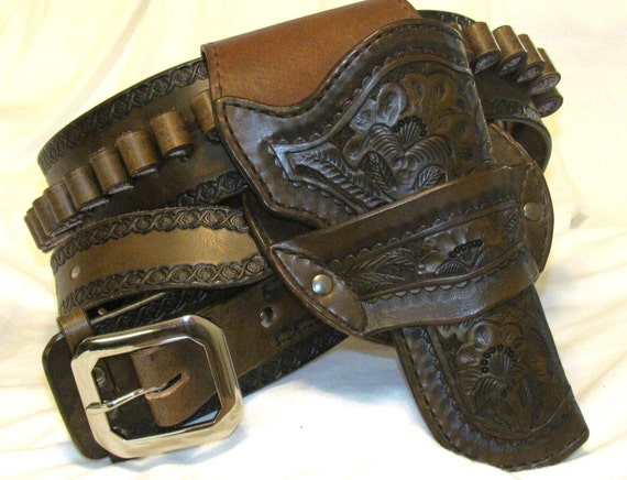 Revolver Holster and Cartridge Belt hand tooled gun rig