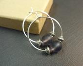 Amethyst Sea Glass Beads Hoop Earrings