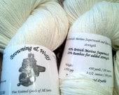 Merino Superwash/Bamboo Sock Yarn - Natural White - 100g Skein
