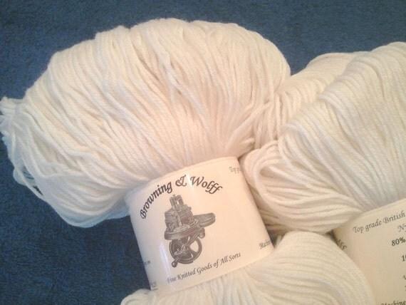 Merino/Cashmere/Nylon Sock Yarn - White-White - 100g Skein