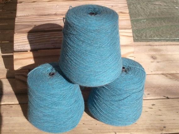 NZ Possum/Merino CSM weight felted sock knitting yarn, 479g cone, Peacock Blue