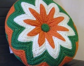 Vintage Circular Knit Pillow Single or Pair--Very Granny