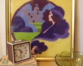 Vintage Needlepoint Wall Hanging of Flapper Girl with Cityscape