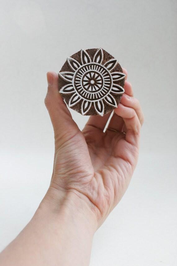 SALE Hand carved wood textile india block stamp- damaged 42