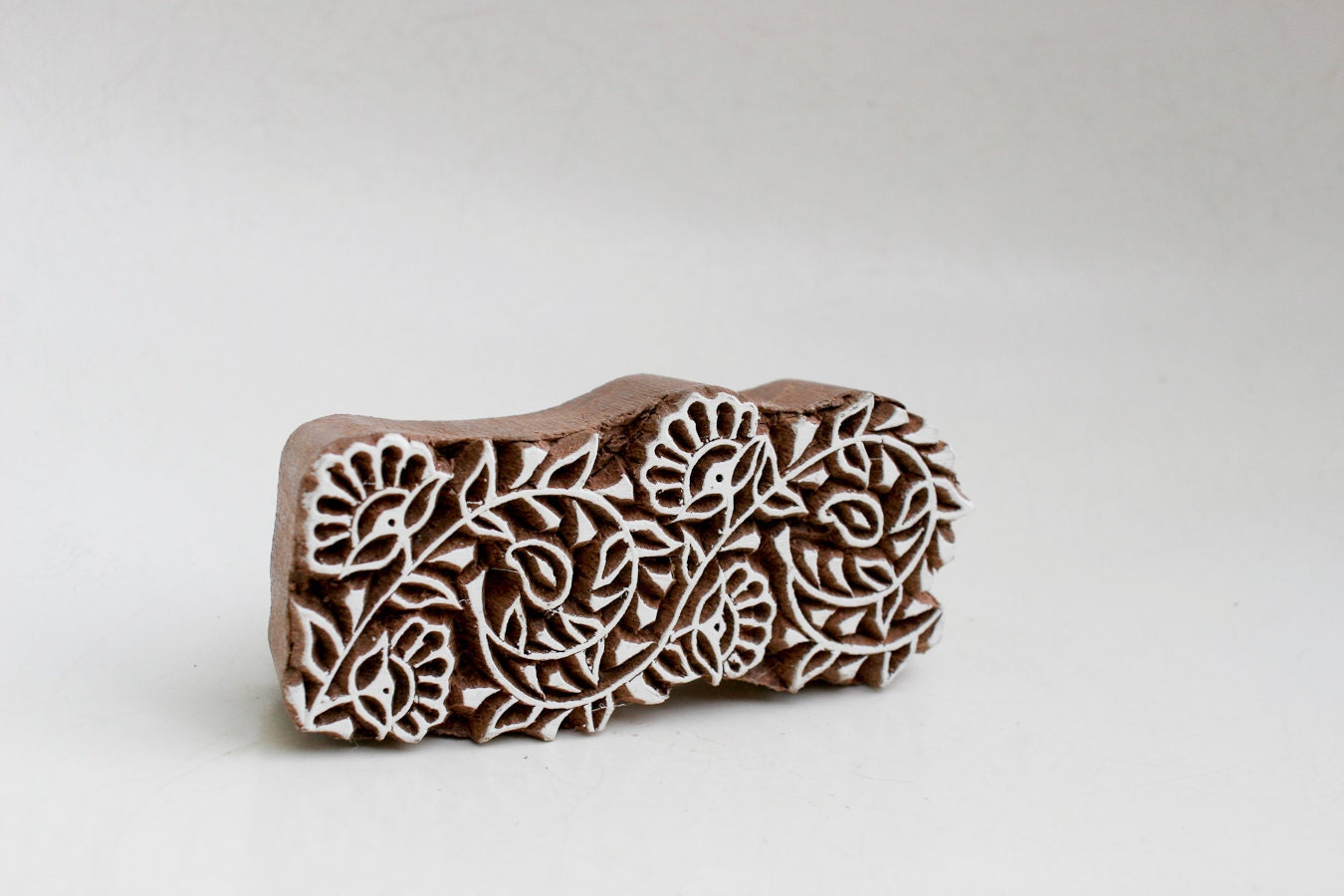 Hand carved wood textile india block stamp by