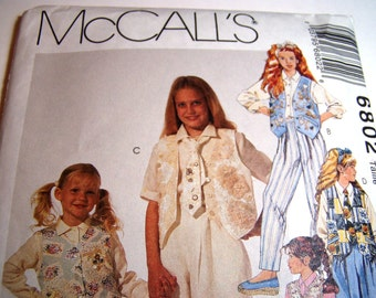 Pattern - McCalls  6802 - Girls' Vest, Shirt, Skirt, Pants and Tie - Size 4, 5,