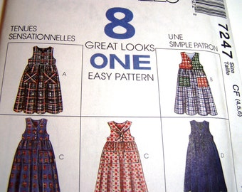 McCalls Pattern 7247 - New - Children's Dress - sizes 4,5,6 - Easy