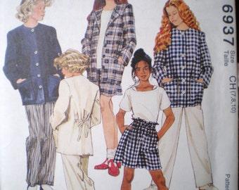 McCalls Pattern 6937 - Girls Jacket, Top, Pants and Shirt - sizes 7,8,10 -