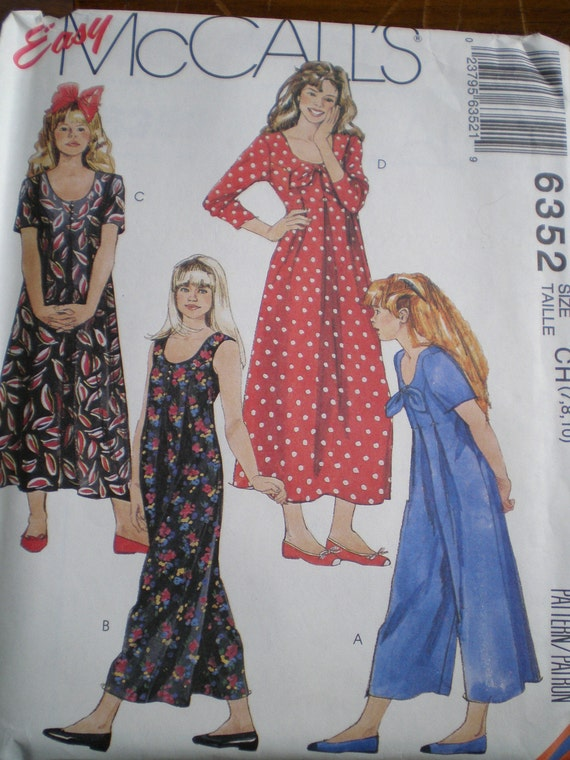 Easy McCall's Pattern 6352 - Girl's Jumpsuit and Dress - Size 7, 8, 10 -