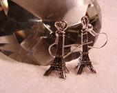 cute EIFFEL TOWER silvertone drop earrings