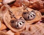 unique SAND DOLLAR silvertone drop earrings