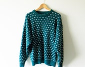 Vintage Hearts Oversized Sweater in Emerald Green