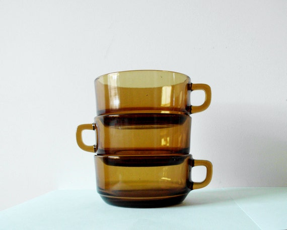 Golden Amber Vintage Soup Mugs by Anchor Hocking