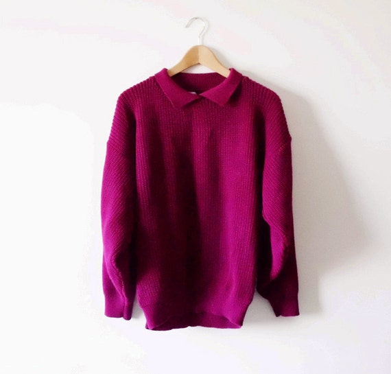 RESERVED for Lauren-Chunky Oversized Sweater in Deep Plum