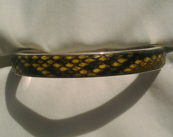 YELLOW NATURAL PYTHON BANGLE BRACELET STERLING SILVER 10MM