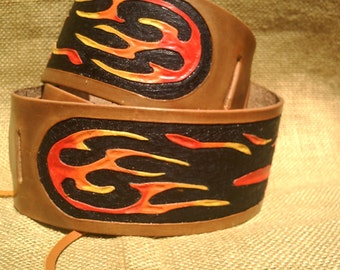 LEATHER GUITAR STRAP Flames