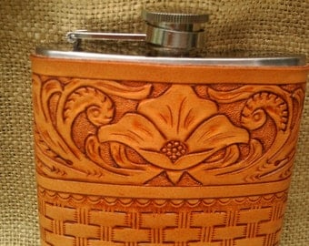 HANDCARVED LEATHER Bound Flask 8 oz.