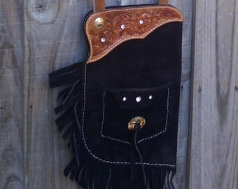SUEDE CHAP PURSE Black and Brown