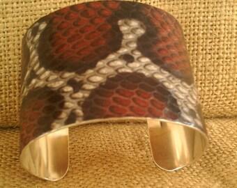 "2"" RED COBRA CUFF Bracelet Sterling Silver"