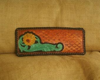 HANDMADE LEATHER WALLET Floral Basket-weave Design