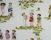 Children's fabric, retro, vintage look, Fat Quarter, quilt fabric children, OOP, pink, sage, blue