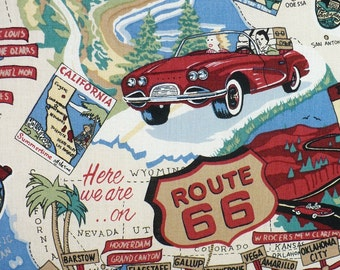 Route 66 fabric, 1/2 YARD, cotton, travel, OOP
