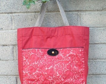 Red tote bag, canvas, large, vintage button, French market