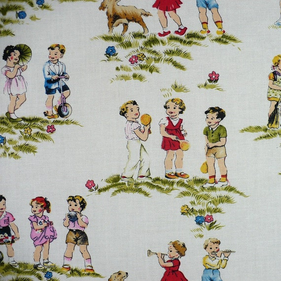 Children 39 s fabric retro vintage look fat quarter oop for Retro kids fabric