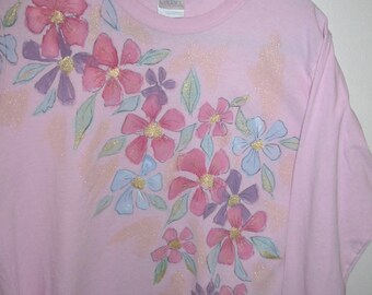 Hand Painted with Pink Flowers Long Sleeved Light Pink T-shirt
