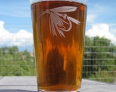 Wet fly fly fishing etched pint glass