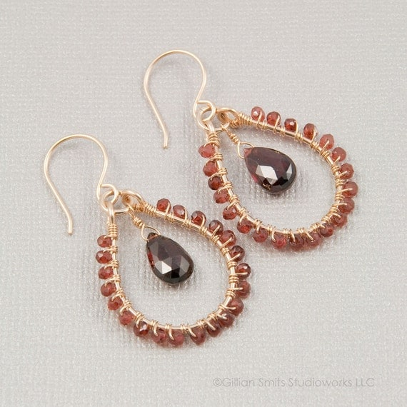 Garnet earrings gold filled wire wrapped gemstone hoop dangle beaded birthstone jewelry January birthday handmade